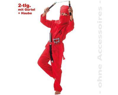 FRIES 18375 Red Ninja, Oberteil, Hose, Gürtel + Haube, Größe 116