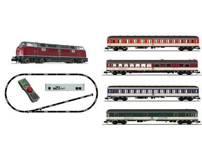 """FLEISCHMANN 931881 N z21®start Digitalset: Diesellok BR 221 mit Schnellzug (""""Popfarben""""), DB, Ep. IV"""